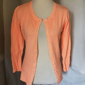 Merona White & orange floral print cardigan XS